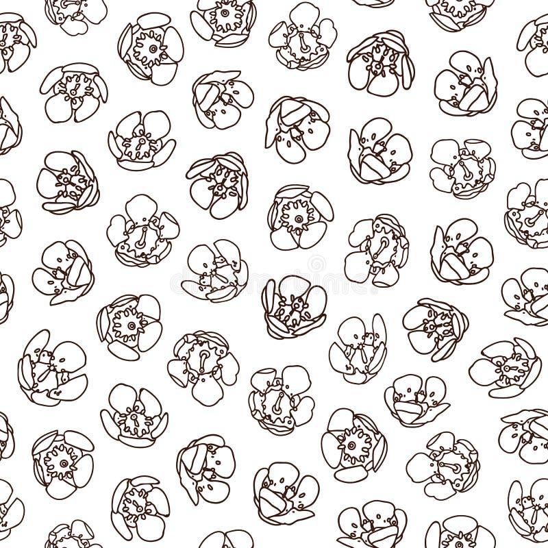 Άσπρο σχέδιο με το μαύρο άνθος απεικόνιση αποθεμάτων