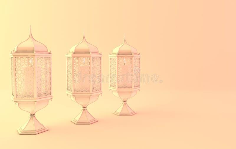 Άσπρο φανάρι με το κερί στο κίτρινο φως, λαμπτήρας με την αραβική διακόσμηση Έννοια για το ισλαμικό ramadan kareem ημέρας εορτασμ ελεύθερη απεικόνιση δικαιώματος