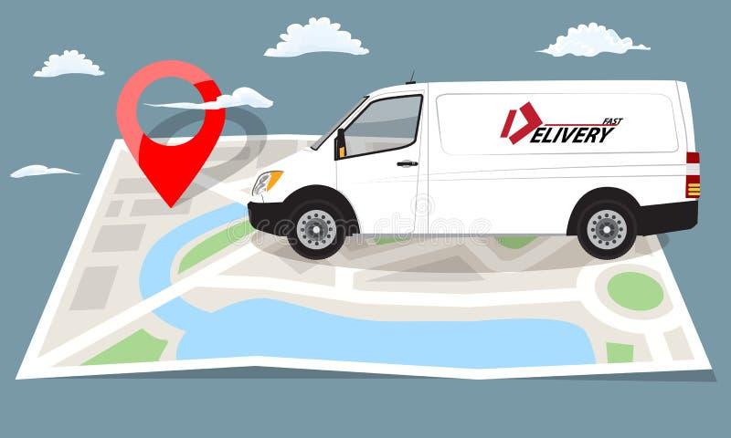Άσπρο φορτηγό πέρα από το διπλωμένο επίπεδο χάρτη και την κόκκινη καρφίτσα επίσης corel σύρετε το διάνυσμα απεικόνισης διανυσματική απεικόνιση