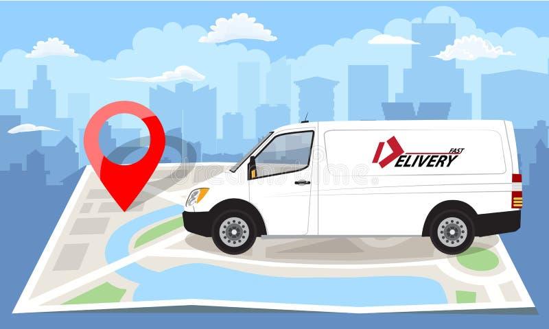 Άσπρο φορτηγό πέρα από το διπλωμένο επίπεδο χάρτη και την κόκκινη καρφίτσα Ανασκόπηση εικονικής παράστασης πόλης επίσης corel σύρ απεικόνιση αποθεμάτων