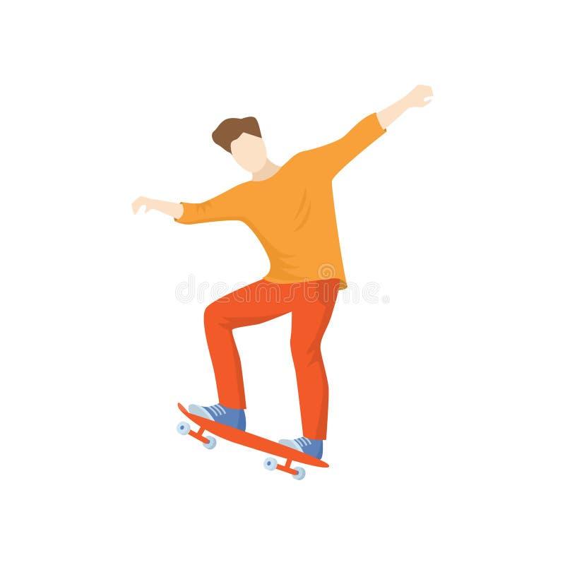 Άτομο στα πορτοκαλιά ενδύματα που οδηγούν γρήγορα skateboard που απομονώνεται στο άσπρο υπόβαθρο ελεύθερη απεικόνιση δικαιώματος