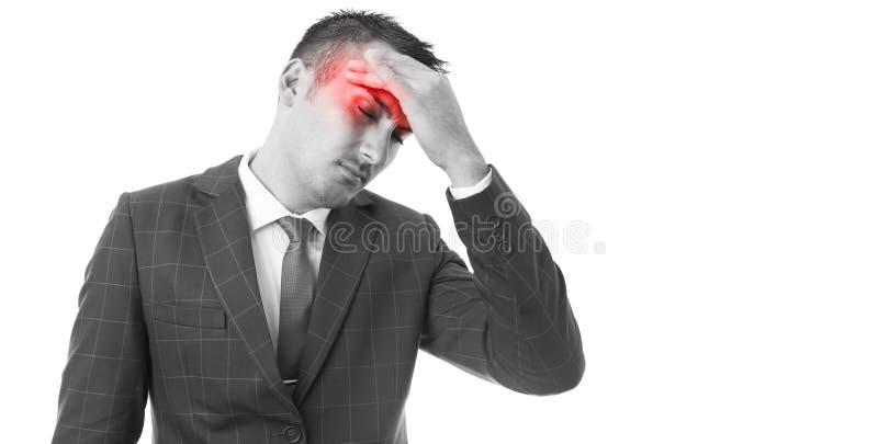 Άτομο σχετικά με το μέτωπο ως έννοια πονοκέφαλου στοκ φωτογραφίες με δικαίωμα ελεύθερης χρήσης