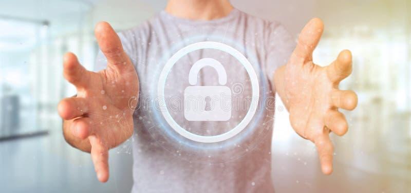 Άτομο που κρατά μια τρισδιάστατη απόδοση έννοιας ασφάλειας Ιστού ασπίδων στοκ εικόνες