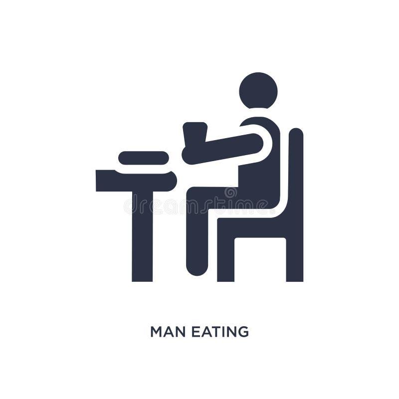 άτομο που τρώει το εικονίδιο στο άσπρο υπόβαθρο Απλή απεικόνιση στοιχείων από την έννοια συμπεριφοράς απεικόνιση αποθεμάτων