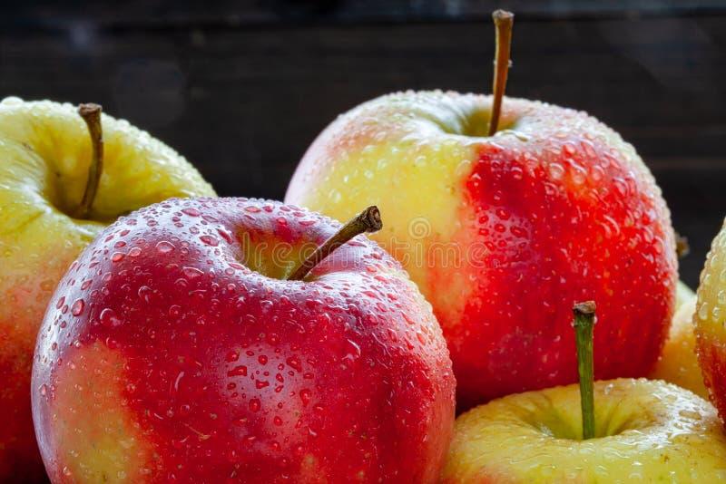 Άποψη κινηματογραφήσεων σε πρώτο πλάνο των όμορφων κόκκινων μήλων με τις πτώσεις νερού στοκ φωτογραφίες με δικαίωμα ελεύθερης χρήσης
