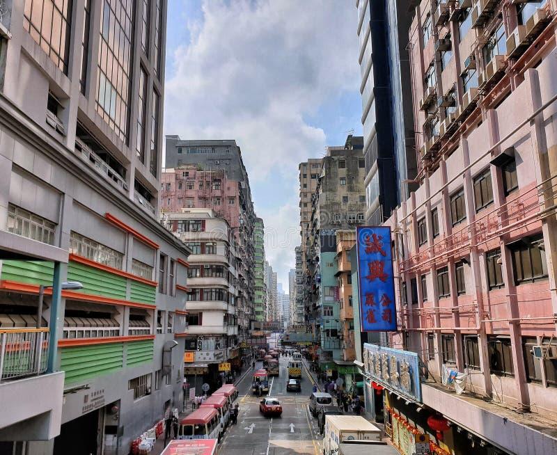 Άποψη οδών πρωινού Kok Mong, Χονγκ Κονγκ στοκ φωτογραφίες