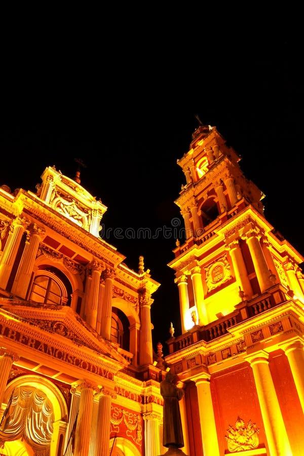 Άποψη σχετικά με την εκκλησία Αγίου Francis σε Salta, Αργεντινή τη νύχτα στοκ φωτογραφία με δικαίωμα ελεύθερης χρήσης