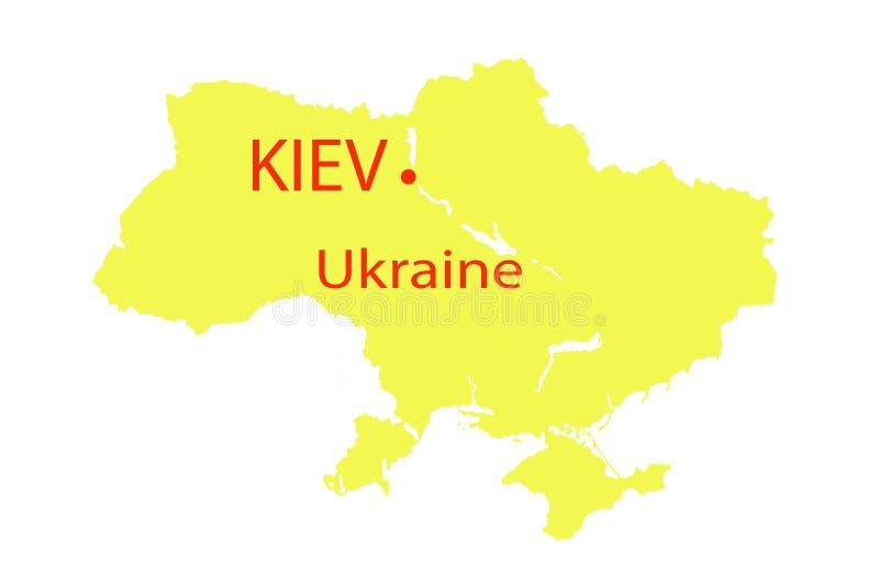 Άποψη χαρτών του Κίεβου Ουκρανία σε έναν γεωγραφικό χάρτη της Ευρώπης ελεύθερη απεικόνιση δικαιώματος