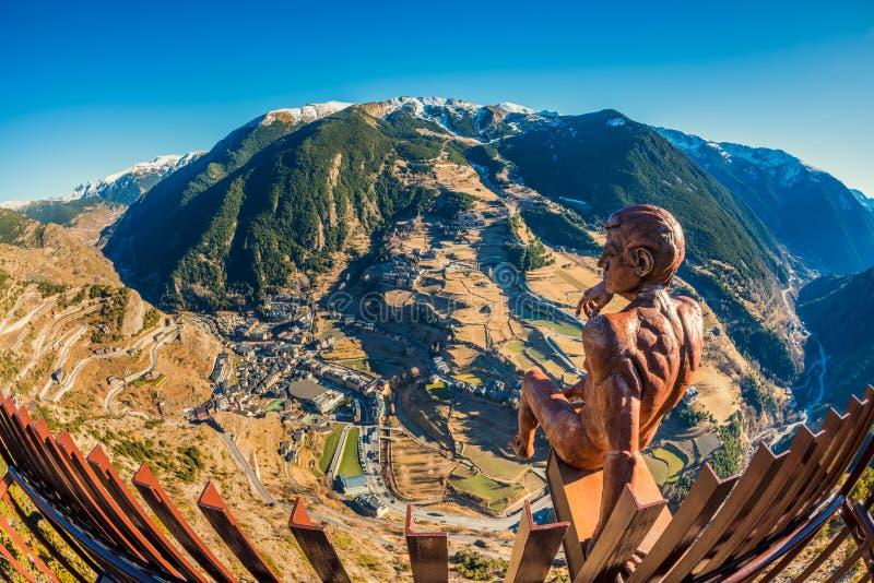 Άποψη Fisheye σχετικά με το χωριό Canillo Ανδόρα και των περιχώρων του στοκ φωτογραφίες με δικαίωμα ελεύθερης χρήσης