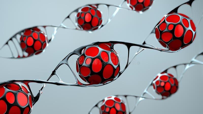 Έλικας ή αντικατάσταση DNA για την έννοια της γενετικής εφαρμοσμένης μηχανικής και του γενετικού χειρισμού, το μόριο ή το άτομο,  ελεύθερη απεικόνιση δικαιώματος