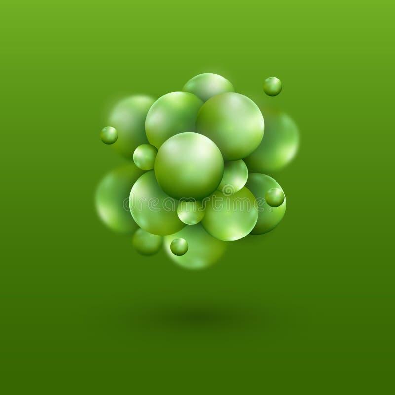 Έμβλημα επιστήμης με τα πράσινα τρισδιάστατα μόρια Ιατρικό σχέδιο σφαιρών υποβάθρου _ μοριακή δομή Έννοια μπαλονιών ελεύθερη απεικόνιση δικαιώματος