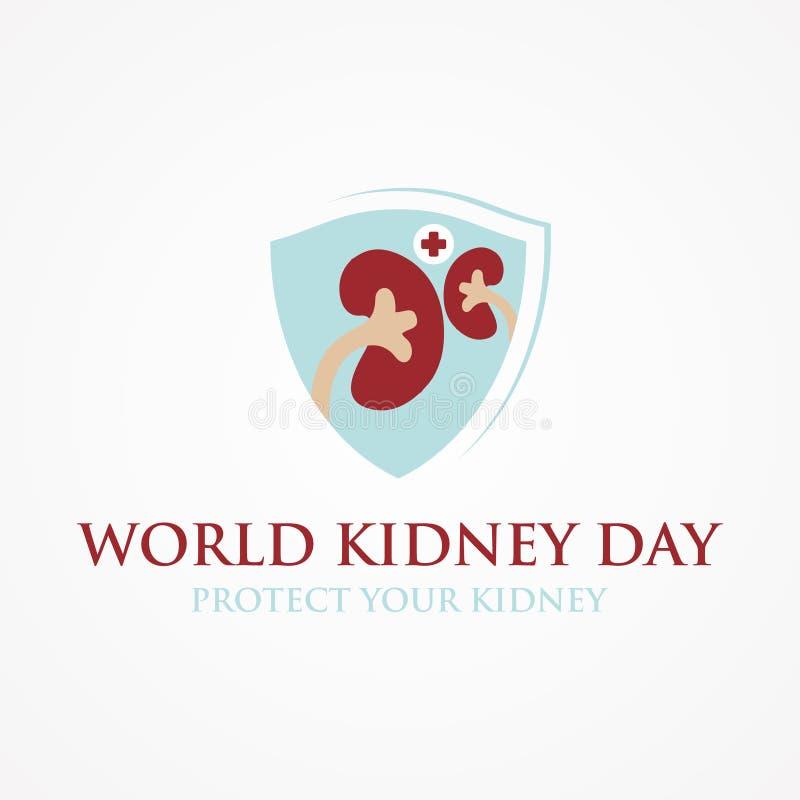 Έμβλημα ημέρας παγκόσμιων νεφρών με το υπόβαθρο χαρτών κορδελλών και κόσμων διανυσματική απεικόνιση