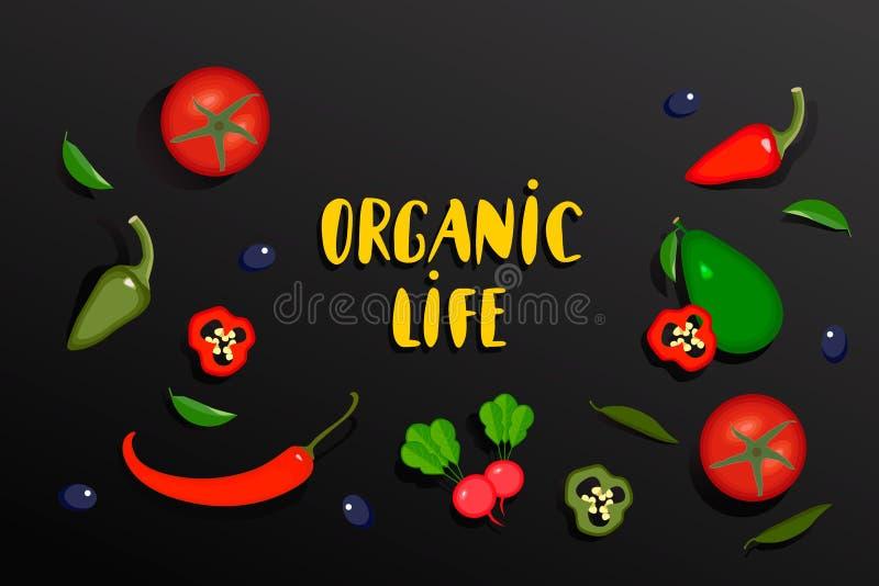 Έμβλημα λαχανικών με την οργανική ζωή κειμένων Διανυσματικά λαχανικά collecton της ντομάτας, του πιπεριού, των τσίλι, του αβοκάντ διανυσματική απεικόνιση
