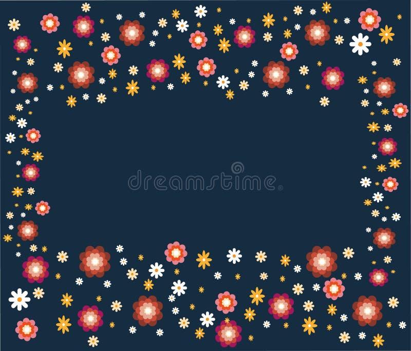 Έμβλημα με τα καθορισμένα λουλούδια σε ένα μπλε υπόβαθρο Ζωηρόχρωμα Floral σύνορα Για προσκαλέστε και γαμήλια κάρτα, αφίσα, ευχετ απεικόνιση αποθεμάτων