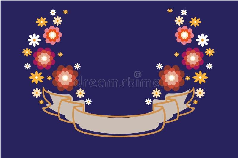 Έμβλημα με τα καθορισμένα λουλούδια σε ένα μπλε υπόβαθρο Ζωηρόχρωμα Floral σύνορα Για προσκαλέστε και γαμήλια κάρτα, αφίσα, ευχετ διανυσματική απεικόνιση