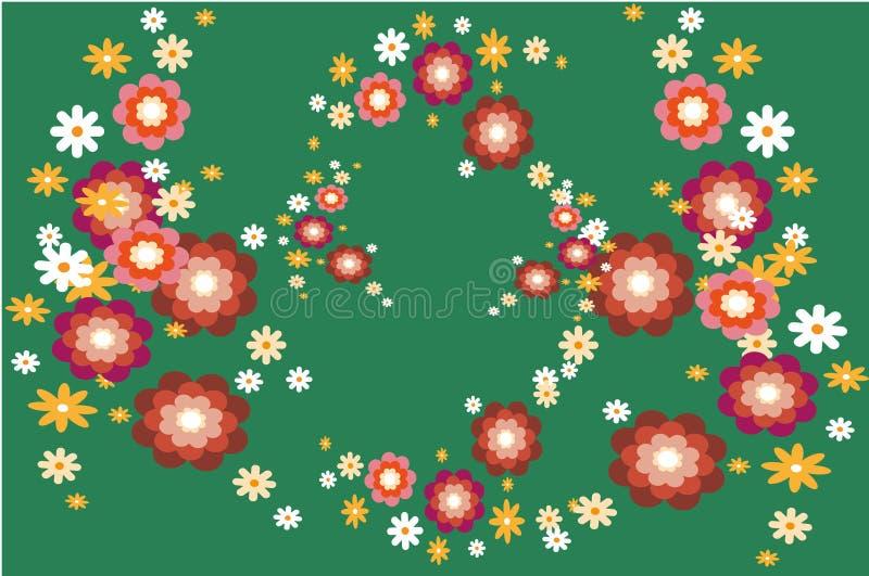 Έμβλημα με τα καθορισμένα λουλούδια σε ένα πράσινο υπόβαθρο Για προσκαλέστε και γαμήλια κάρτα, αφίσα, ευχετήρια κάρτα ελεύθερη απεικόνιση δικαιώματος