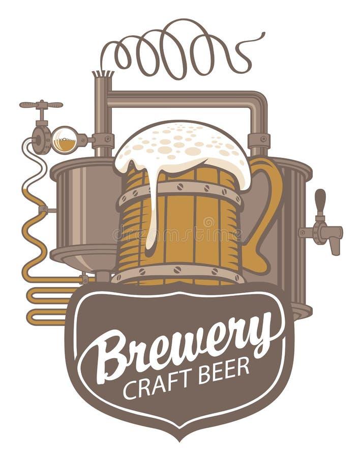 Έμβλημα μπύρας με τη γραμμή παραγωγής και την ξύλινη κούπα διανυσματική απεικόνιση