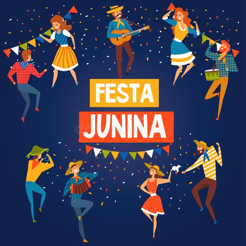 Έμβλημα φεστιβάλ Junina Βραζιλία Ιούνιος Festa ή αφίσα, ευτυχής διανυσματική απεικόνιση κόμματος λαογραφίας ανθρώπων που χορεύουν απεικόνιση αποθεμάτων