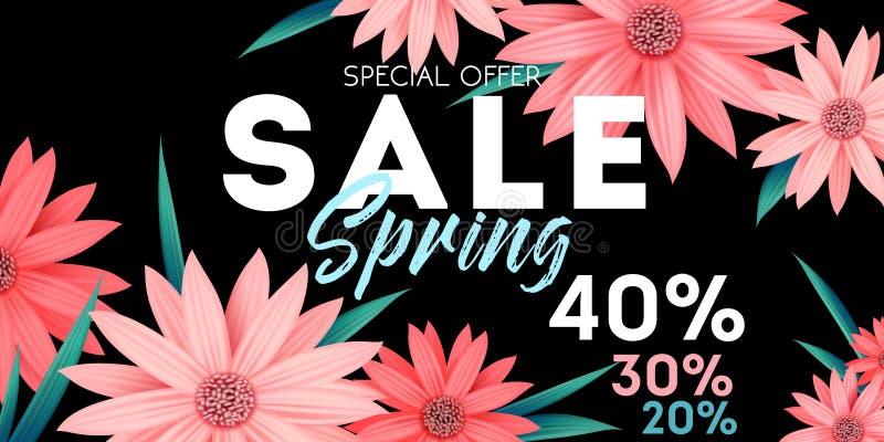 Έμβλημα πώλησης άνοιξη, ειδική προσφορά, που διαφημίζει με τα ρόδινα λουλούδια ελεύθερη απεικόνιση δικαιώματος