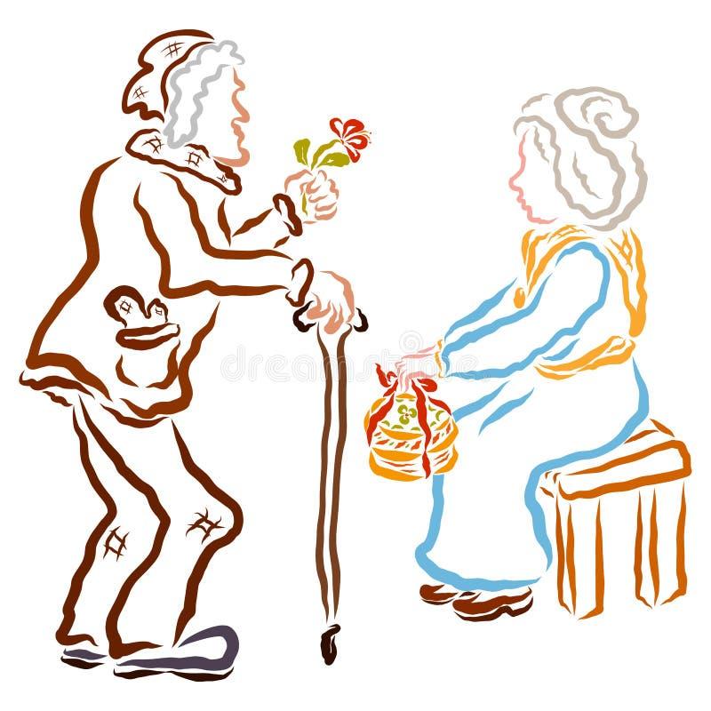 Ένας ηληκιωμένος με έναν κάλαμο δίνει ένα λουλούδι σε μια ηλικιωμένη γυναίκα, μια ηλικιωμένη γυναίκα δίνει ένα κέικ απεικόνιση αποθεμάτων