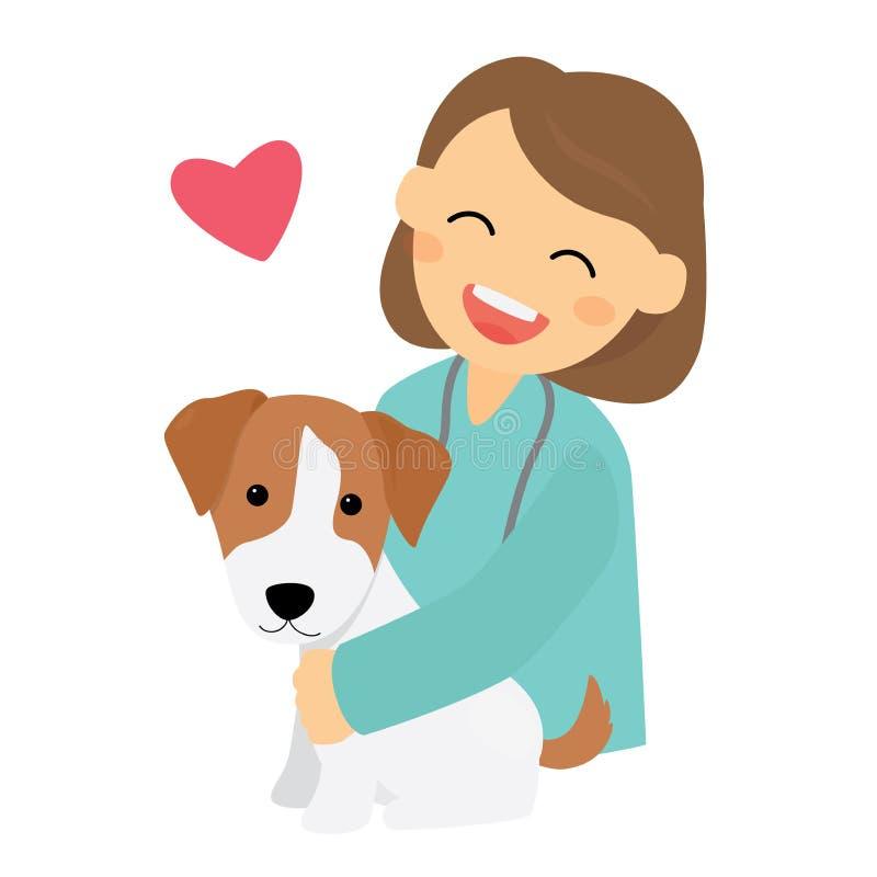 Ένας κτηνίατρος με το σκυλί ελεύθερη απεικόνιση δικαιώματος