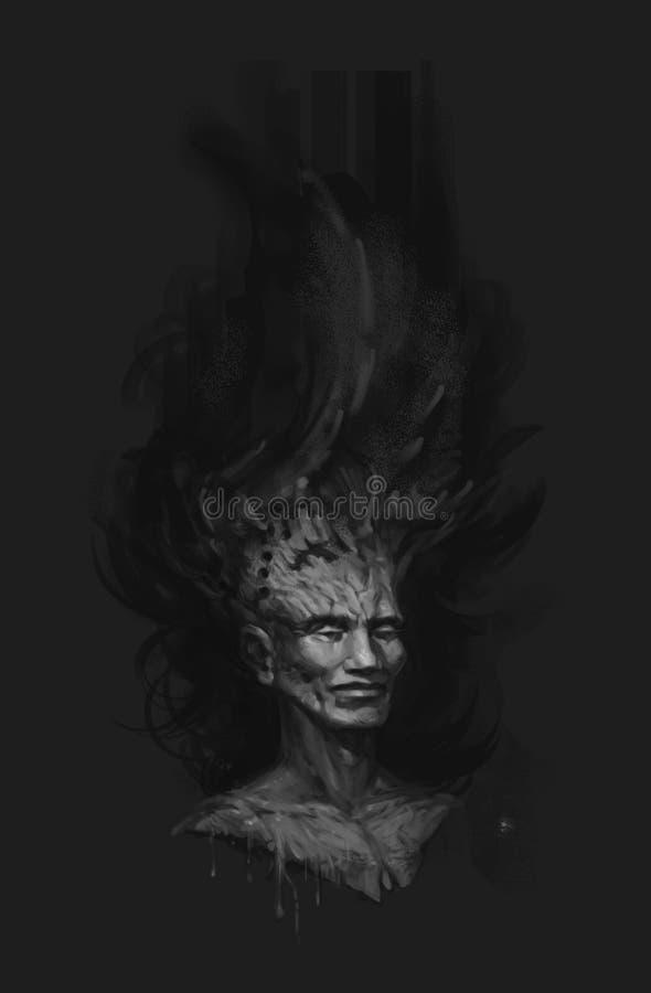Ένας μυθικός δασικός χαρακτήρας Απεικόνιση μιας μελαχροινής νεράιδας Μαύρη κάλυψη για ένα βιβλίο, δίσκος ενάντια ως δολάρια έννοι απεικόνιση αποθεμάτων