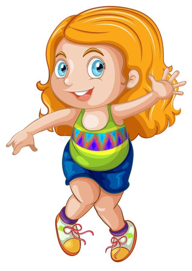 Ένας ξανθός χαρακτήρας κοριτσιών διανυσματική απεικόνιση