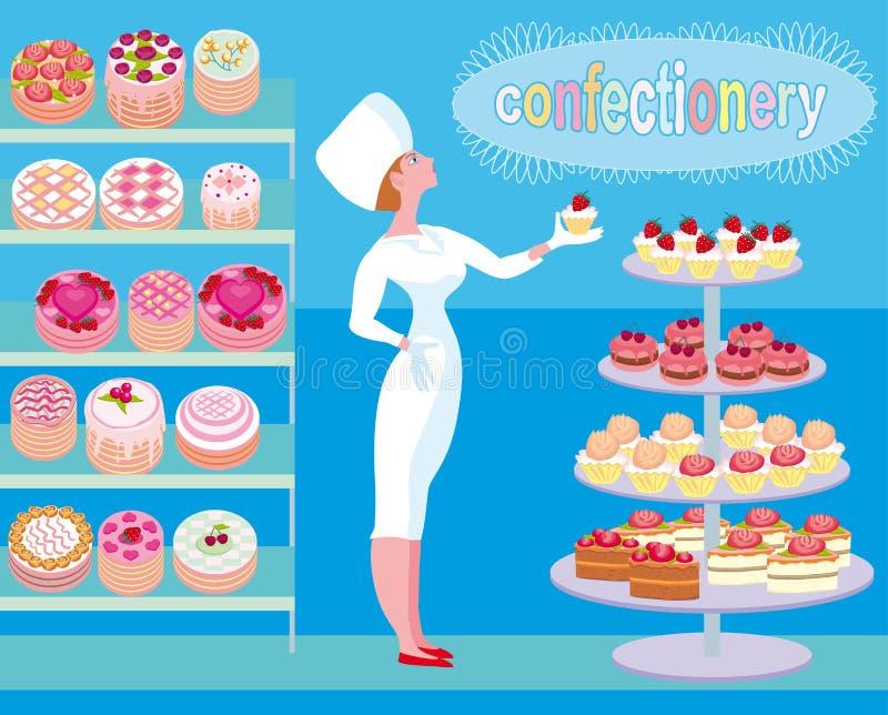 Ένας προμηθευτής βιομηχανιών ζαχαρωδών προϊόντων επιδεικνύει υπερήφανα το προϊόν του απεικόνιση αποθεμάτων