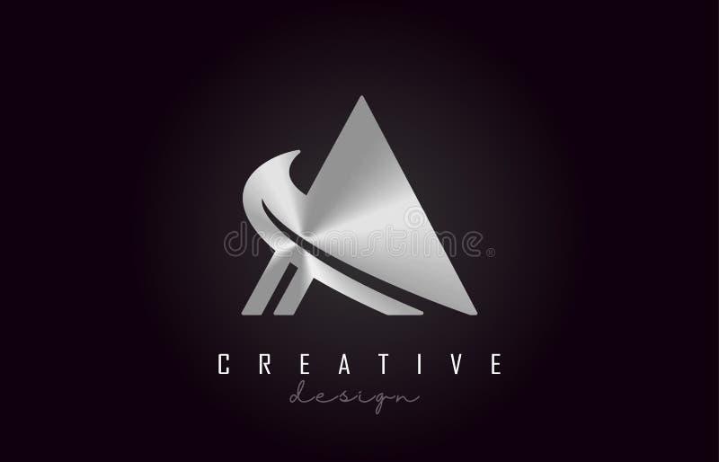 Ένα ασημένιο διανυσματικό σχέδιο μονογραμμάτων λογότυπων επιστολών Δημιουργικός ένα ασημένιο εικονίδιο επιστολών μετάλλων διανυσματική απεικόνιση