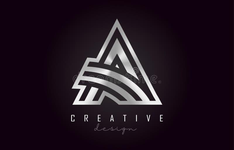 Ένα ασημένιο διανυσματικό σχέδιο μονογραμμάτων λογότυπων επιστολών Δημιουργικός ένα ασημένιο εικονίδιο επιστολών μετάλλων ελεύθερη απεικόνιση δικαιώματος