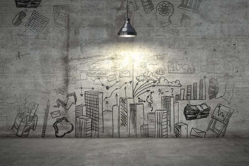 Ένα επιχειρηματικό σχέδιο σε έναν τοίχο που φωτίζεται με τον ενιαίο λαμπτήρα άνωθεν τρισδιάστατος δώστε στοκ εικόνα