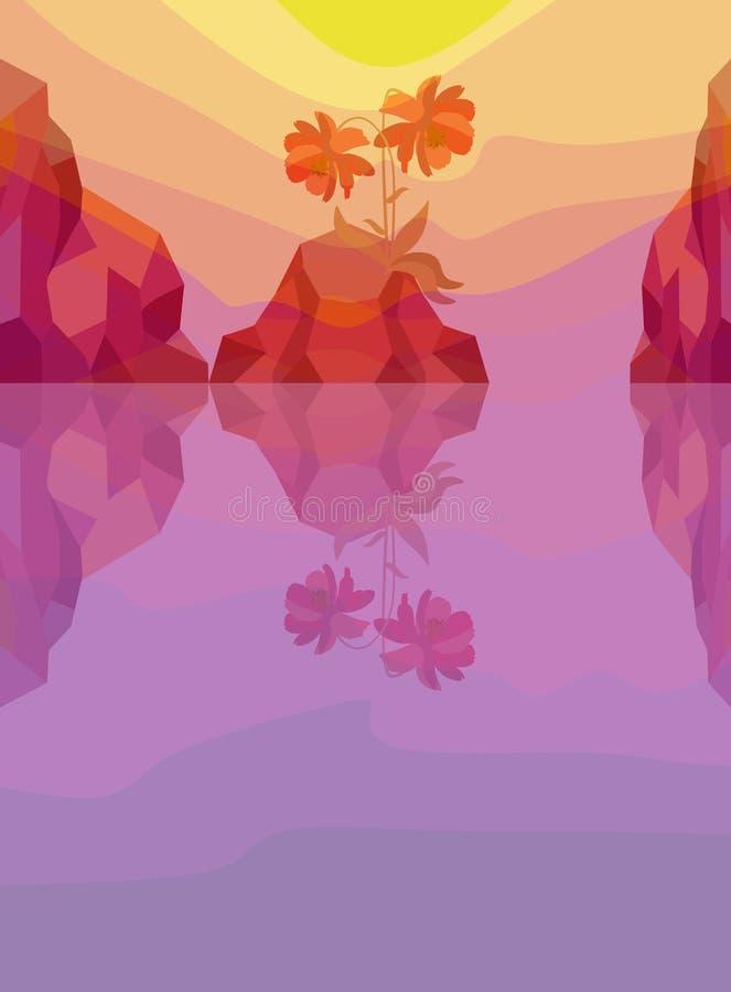 Ένα όμορφο κόκκινο λουλούδι και βουνά που απεικονίζουν στον ωκεανό στο ηλιοβασίλεμα ή την αυγή αλόης επίσης corel σύρετε το διάνυ ελεύθερη απεικόνιση δικαιώματος