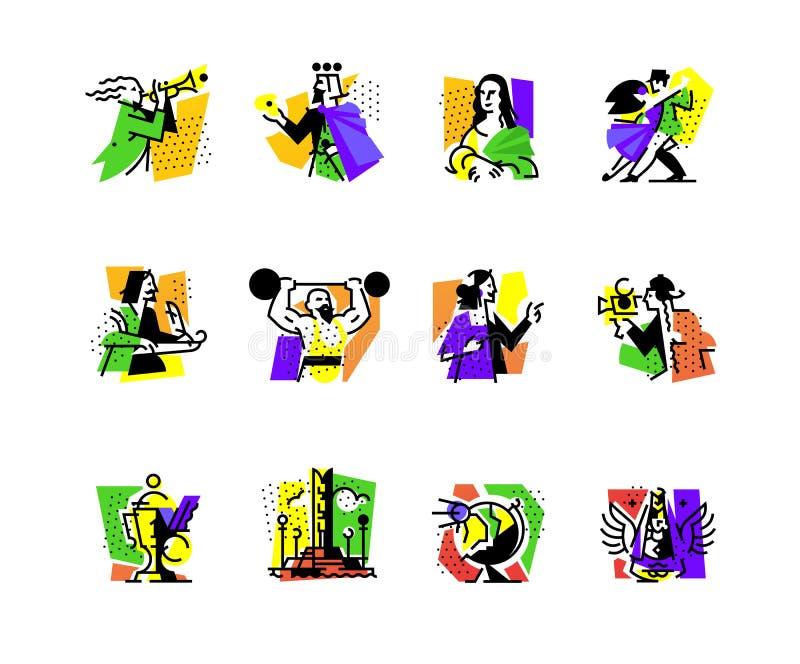 Ένα σύνολο εικονιδίων στο θέμα των φορμών τέχνης Μουσική, χορογραφία, τραγούδι, λογοτεχνία, θέατρο, τσίρκο Διανυσματική επίπεδη α ελεύθερη απεικόνιση δικαιώματος