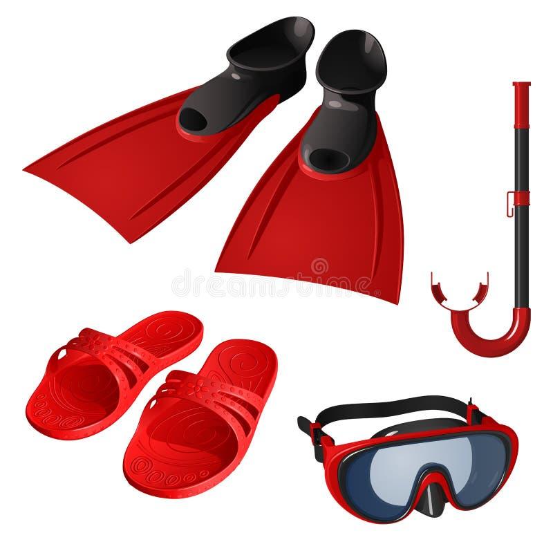 Ένα σύνολο στοιχείων για την κολύμβηση, κόκκινο Μάσκα, σωλήνας αναπνοής, βατραχοπέδιλα και λαστιχένιες παντόφλες ελεύθερη απεικόνιση δικαιώματος