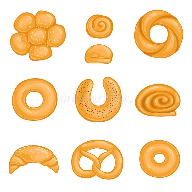 Ένα σύνολο ψημένο bagel αγαθών, croissant, ρόλος, κουλούρι με τους σπόρους παπαρουνών επίσης corel σύρετε το διάνυσμα απεικόνισης διανυσματική απεικόνιση