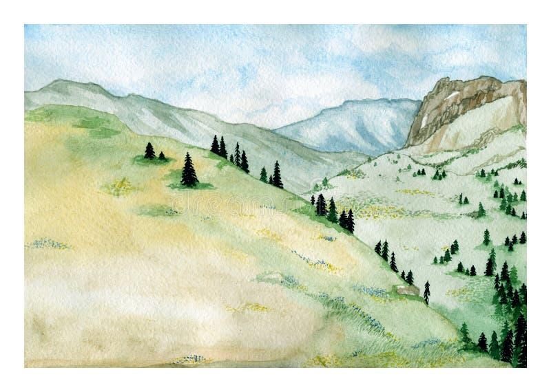 Ένα τοπίο βουνών: υψηλοί λόφοι με τα δέντρα λιβαδιών και έλατου, χρωματισμένη χέρι απεικόνιση watercolor διανυσματική απεικόνιση