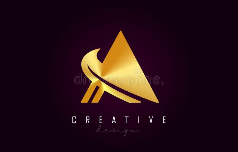 Ένα χρυσό διανυσματικό σχέδιο μονογραμμάτων λογότυπων επιστολών Δημιουργικός ένα χρυσό εικονίδιο επιστολών μετάλλων απεικόνιση αποθεμάτων