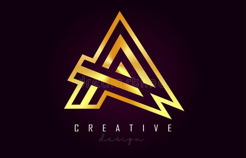 Ένα χρυσό διανυσματικό σχέδιο μονογραμμάτων λογότυπων επιστολών Δημιουργικός ένα χρυσό εικονίδιο επιστολών μετάλλων ελεύθερη απεικόνιση δικαιώματος