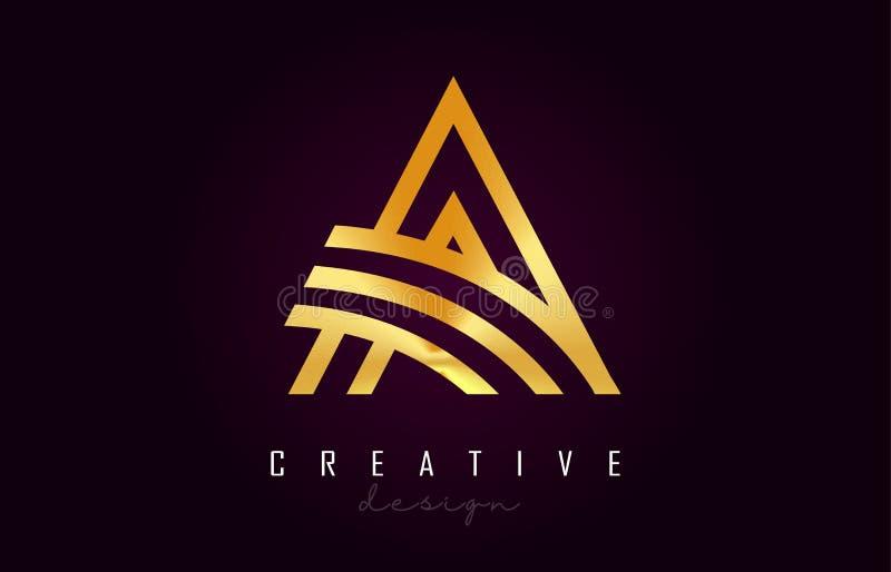 Ένα χρυσό διανυσματικό σχέδιο μονογραμμάτων λογότυπων επιστολών Δημιουργικός ένα χρυσό εικονίδιο επιστολών μετάλλων διανυσματική απεικόνιση