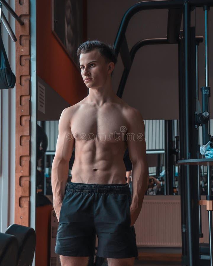 Ένα πορτρέτο ενός νέου αθλητή δύναμης σε μια γυμναστική Καθορισμένος αθλητής με τους μεγάλους μυς στοκ φωτογραφίες με δικαίωμα ελεύθερης χρήσης