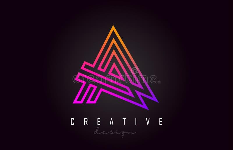 Ένα πορφυρό διανυσματικό σχέδιο μονογραμμάτων λογότυπων επιστολών Δημιουργικός ένα δονούμενο εικονίδιο επιστολών ελεύθερη απεικόνιση δικαιώματος