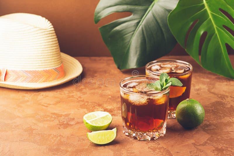 Ένα ποτό των κύβων πάγου ρουμιού ή κόλας και juicy ασβέστης goblets γυαλιού σε ένα κλίμα των τροπικών πράσινων φύλλων στοκ εικόνες με δικαίωμα ελεύθερης χρήσης
