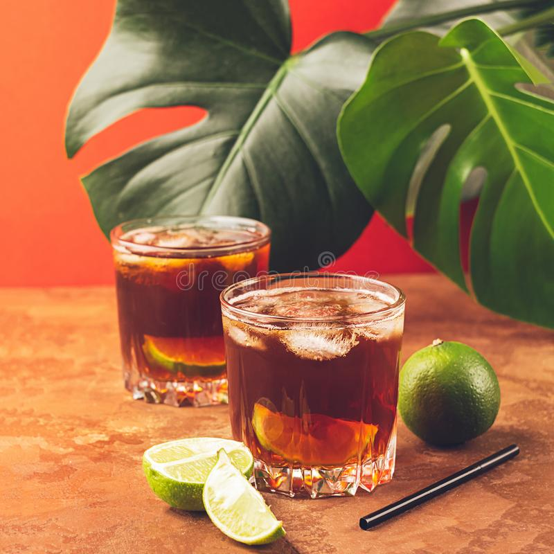 Ένα ποτό των κύβων πάγου ρουμιού ή κόλας και juicy ασβέστης goblets γυαλιού σε ένα κλίμα των τροπικών πράσινων φύλλων στοκ εικόνες