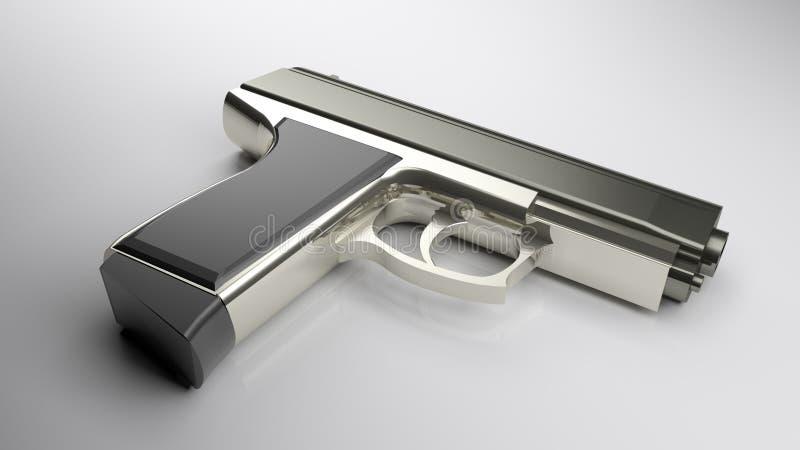 Ένα πυροβόλο όπλο που βάζει σε έναν άσπρο στιλπνό πίνακα - τρισδιάστατη δίνοντας απεικόνιση ελεύθερη απεικόνιση δικαιώματος
