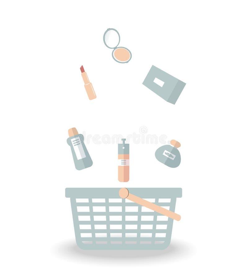 Έννοια αγορών προϊόντων: το καλλυντικό, κραγιόν, άρωμα σκονών, λοσιόν, κρέμα, ψεκασμός, γάλα σωμάτων για αποτελεί και το πρόσωπο  ελεύθερη απεικόνιση δικαιώματος