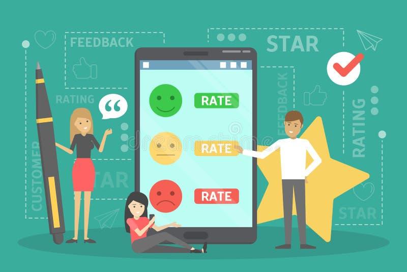 Έννοια ανατροφοδότησης Ιδέα της αναθεώρησης πελατών r ελεύθερη απεικόνιση δικαιώματος