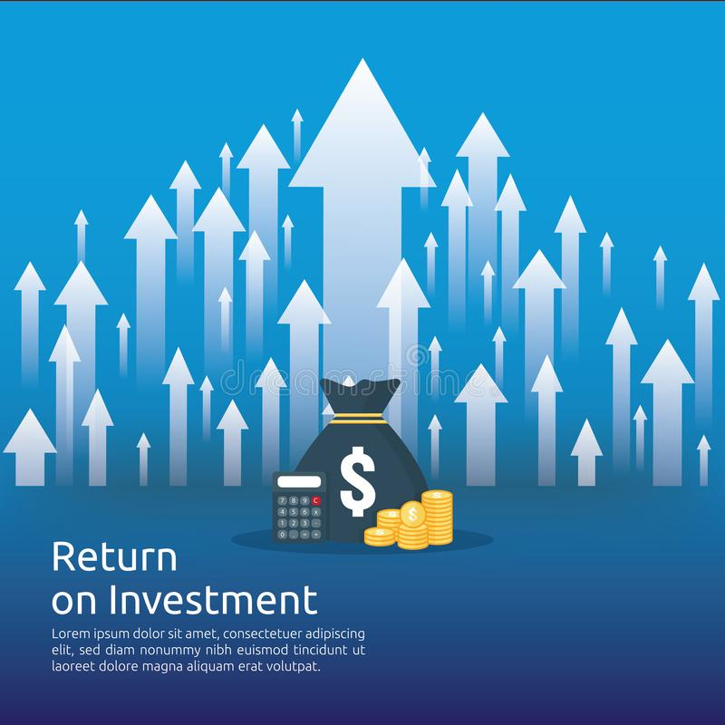 Έννοια απόδοσης της επένδυσης ROI βέλη επιχειρησιακής αύξησης στην επιτυχία νομίσματα σωρών σωρών δολαρίων και τσάντα χρημάτων κέ ελεύθερη απεικόνιση δικαιώματος