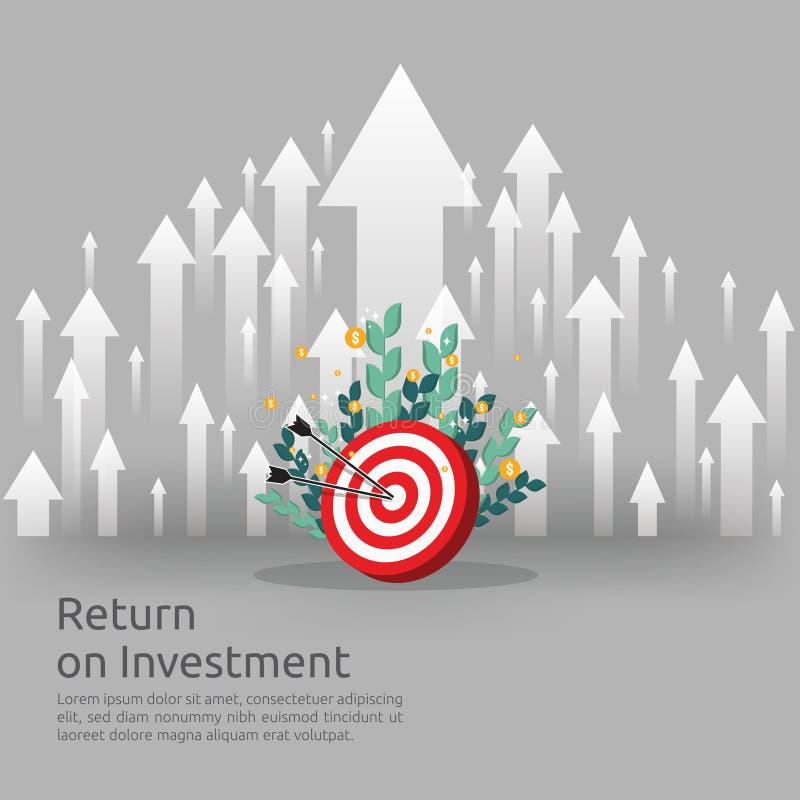 Έννοια απόδοσης της επένδυσης ROI βέλη επιχειρησιακής αύξησης στην επιτυχία νομίσματα σωρών σωρών δολαρίων και τσάντα χρημάτων κέ απεικόνιση αποθεμάτων