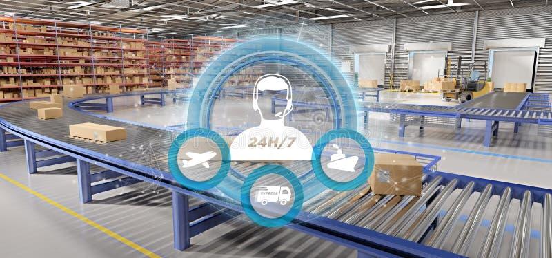 Έννοια εξυπηρέτησης πελατών σε μια τρισδιάστατη απόδοση υποβάθρου αποθηκών εμπορευμάτων διανυσματική απεικόνιση