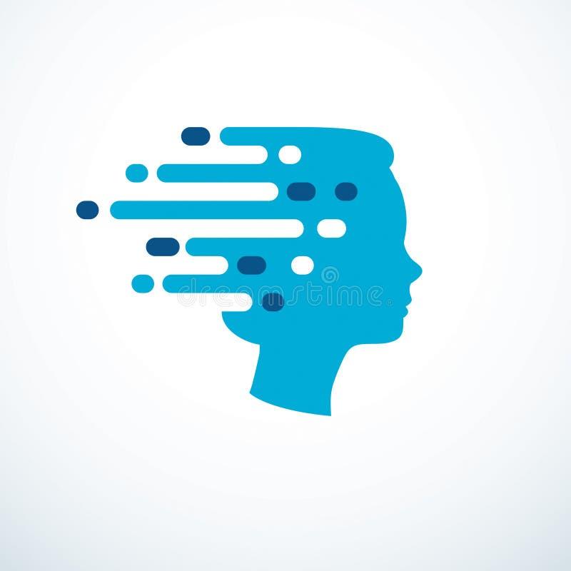 Έννοια καταιγισμού ιδεών, διανυσματικό σχέδιο του ανθρώπινου επικεφαλής σχεδιαγράμματος με τις σκέψεις που κινούνται γρήγορα διανυσματική απεικόνιση
